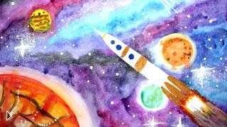 Смотреть онлайн Пошаговый урок рисования красками для детей 6-8 лет