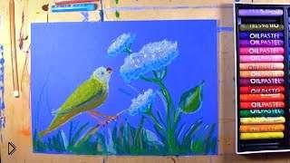 Смотреть онлайн Как рисовать масляной пастелью урок для детей