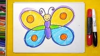Смотреть онлайн Как поэтапно рисовать бабочку для детей от 3 лет
