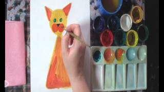 Смотреть онлайн Урок рисования красками для детей 5-8 лет