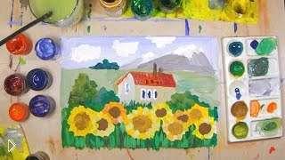 Смотреть онлайн Урок поэтапного рисования красками для детей 7-9 лет