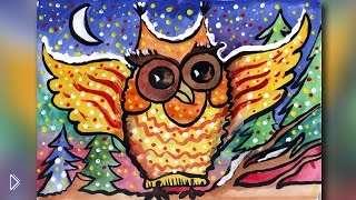 Смотреть онлайн Как рисовать сову карандашами и гуашью для детей
